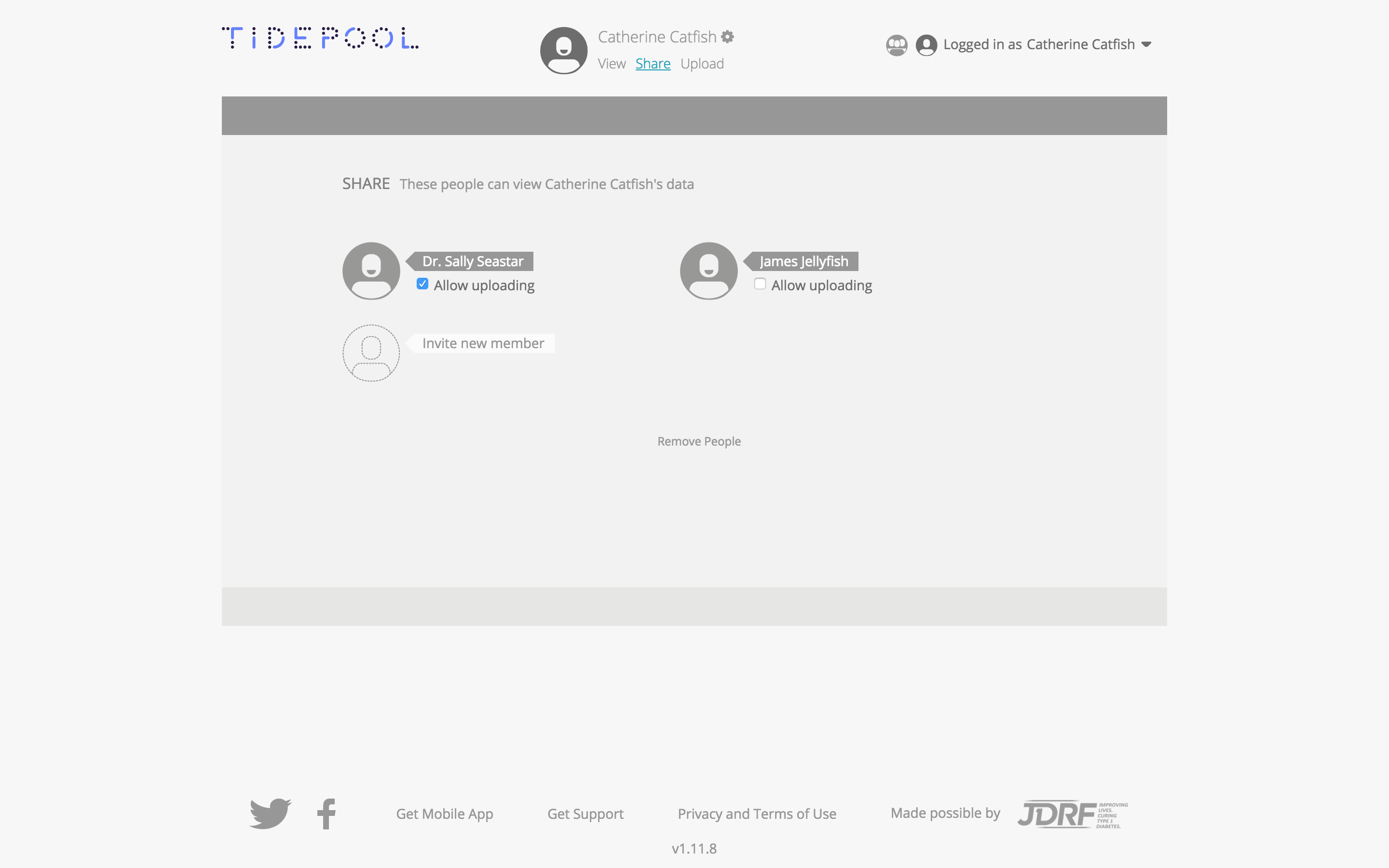 Image of Share page in Tidepool Web