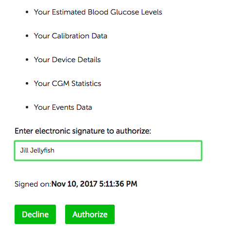 Image of electronic authorization to connect Tidepool and Dexcom accounts