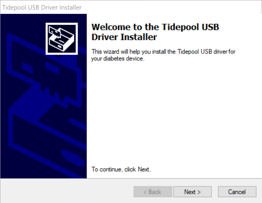Tidepool USB Driver Installer screen