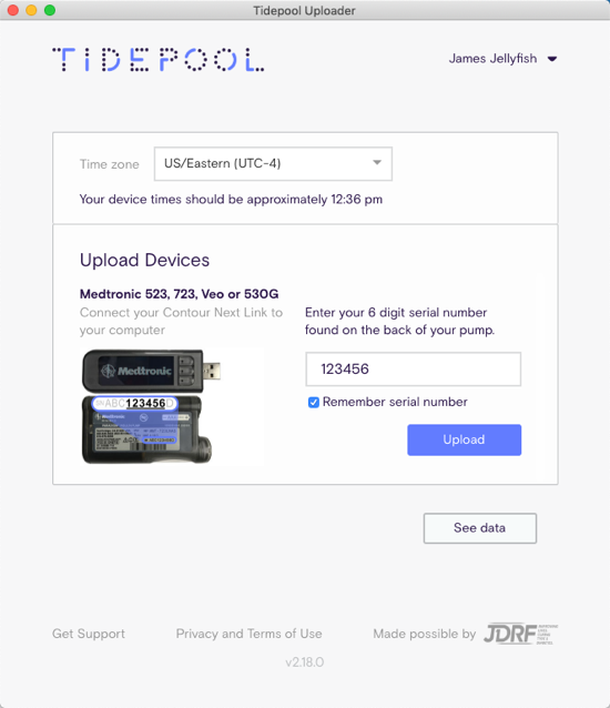 Tidepool Uploader screen showing input of pump serial number