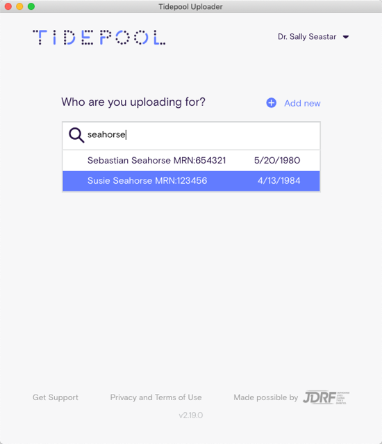 Image of patient search screen in Tidepool Uploader