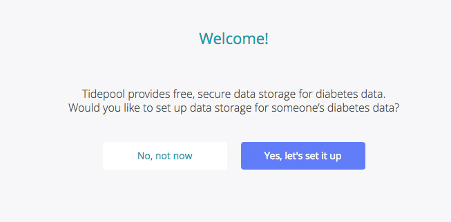 Image displaying Tidepool welcome screen, which offers the option to set up data storage now or later