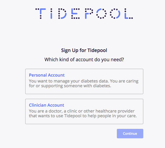 Image displaying the sign up screen, which shows two account options — a personal account, or a clinician account
