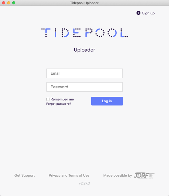 Image of the Tidepool Uploader log in screen
