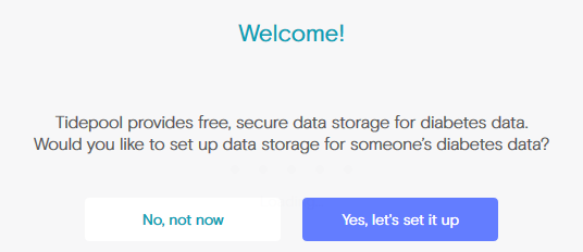 Image of data storage setup screen prompt