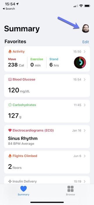 Screenshot of Health app showing arrow pointing to profile icon