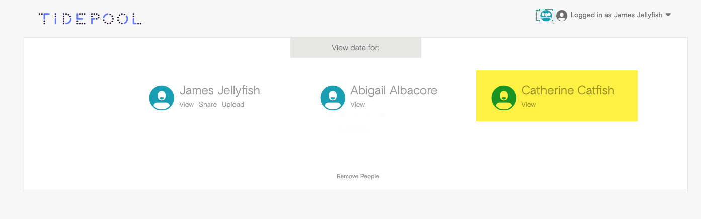Image of Tidepool Web accounts from Personal Tidepool Web account
